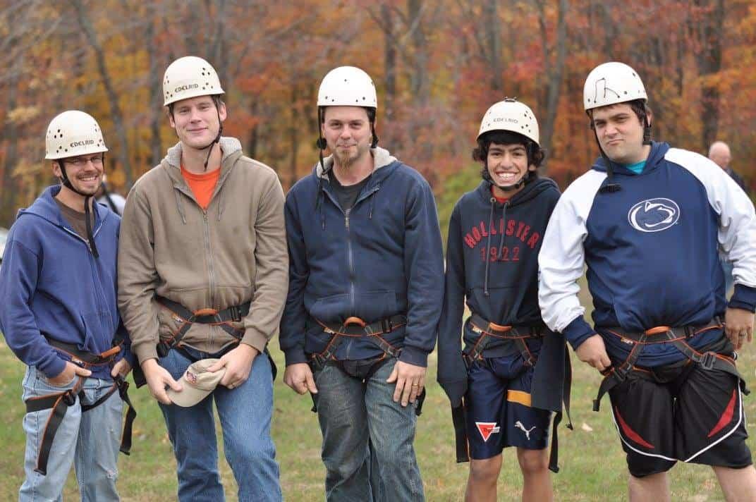 Men getting ready for the zipline